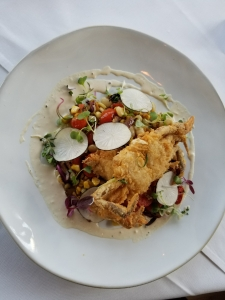 EO Soft Shell chicken fried succotash brown butter vin local radish