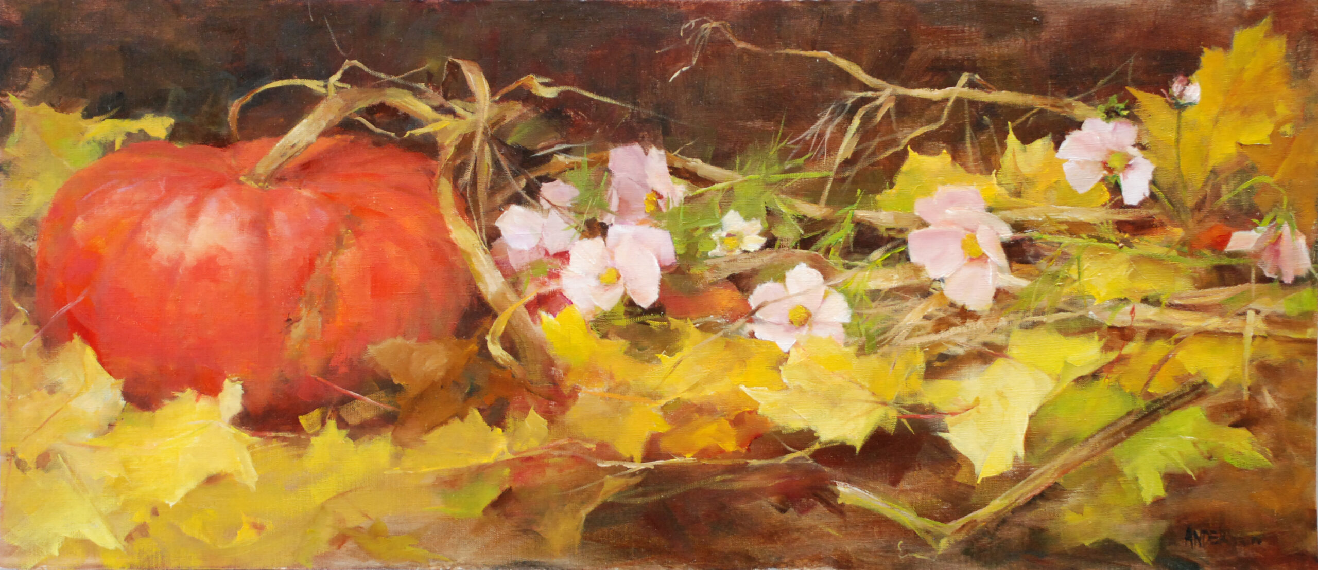 Pink Cosmos in the Pumpkin Patch 10x24 1 scaled